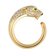 Panthère de Cartier ring. Yellow gold, emerald eyes, onyx nose, diamonds.
