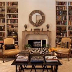 Annelle Primos Living Rooms, Living Spaces, French Houses, Fireplace Mirror, French Country House, Reception Rooms, Bookcases, Built Ins, Hearth