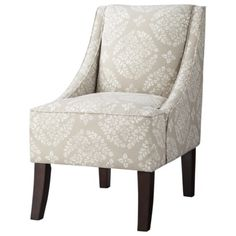 Threshold™ Swoop Chair - Tan/White Medallion. Love for living room. Perhaps light blue sofa, two of these chairs, yellow accented pillows or a throw blanket. Yellow lamps.