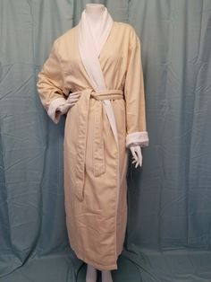 SPA by KASSATEX Beige Microfiber Full Length Spa Robe Cotton Terry Lined L/XL #SpabyKassatex #Robes