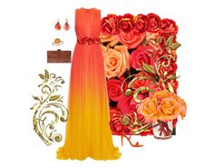 """Ombré orange  tournament of roses"" by joyfulmum ❤ liked on Polyvore featuring Elie Saab, Aquazzura, Pomellato, Allurez, Edie Parker and The French Bee"