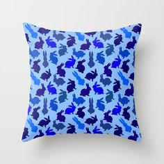 Bunnies Galore Blues throw pillow by Notsundoku | Society6. #repeatpattern #bunnies #rabbits #bunny #Easterbunny #babyshower #Notsundoku #Society6  #throwpillows #pillows #cushions #livingspace #homedecor #interiordecor #nurserydecor #babyboy #boysroom