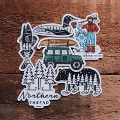 With these new and original designs, take the vibes of The Northern Thread with you wherever you go! Perfect for laptops, coolers, water bottles, and anywhere else that they can fit. Jeep Stickers, Cool Stickers, Funny Stickers, Laptop Stickers, Bumper Stickers, Outdoor Stickers, Patches, Homemade Stickers, Pictogram