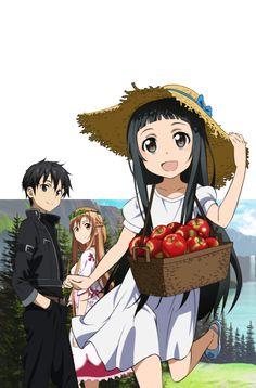 Kirito, Asuna, & Yui, Sword Art Online.