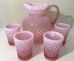 Fenton Glass Hobnail French Opalescent Pink Pitcher 4 Tumblers 100th Anniversay