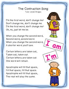 contraction poem | LOVE this song and wish I knew who wrote it so I could give credit.