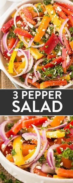 A no fuss BBQ side dish that's simple and easy to throw together. Three pepper salad is barbecue favorite! Three Pepper Salad - 3 Pepper Salad - A no fuss BBQ side dish that's simple and easy to throw together. Three pepper salad is barbecue favorite! Healthy Salad Recipes, Vegetable Recipes, Vegetarian Recipes, Cooking Recipes, Simple Salad Recipes, Vegetarian Barbecue, Lunch Recipes, Easy Recipes, Dessert Recipes