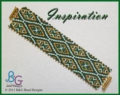 INSPIRATION Peyote Cuff Bracelet Pattern Let vivid shades of green and gold tantalize your senses, awaken your imagination, and fill your being with the colors of life itself. Stitched in two-drop peyote, this pattern can easily be adjusted to fit any size wrist. ------------------- SPECIFICATION: • Pattern designed using Miyuki Delica beads size 11 • Length: 7.31 in (18.40 cm) • Width: 1.56 in (4.10 cm) • Colors: 4 • Technique: Odd-count two-drop peyote • Skill Level: Intermediate This p...