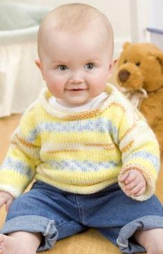 Free+Knitting+Pattern+-+Baby+Sweaters:+Simple+Baby+Pullover