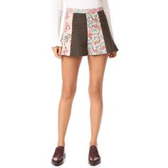 RED Valentino Herringbone Floral Shorts ($395) ❤ liked on Polyvore featuring shorts, camel, floral printed shorts, herringbone shorts, tweed shorts, camel shorts and floral shorts