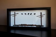 Awesome shadowbox showing Birds on a wire. All handmade by myself, made of… Sea Glass Crafts, Sea Crafts, Sea Glass Art, Pebble Stone, Pebble Art, Stone Art, Pebble Pictures, Stone Pictures, Stone Crafts