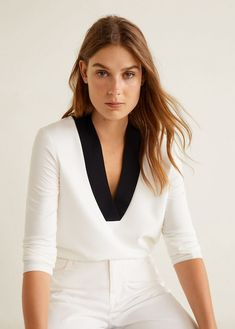 Modal t-shirt by Mango Mango Outlet, Mango Tops, Autumn Fashion 2018, Casual Tops, Latest Fashion Trends, T Shirts, Long Sleeve Tops, Clothes For Women, T Shirt