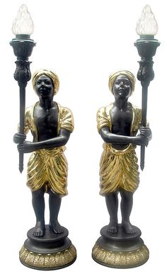 Pair of Indian Boys in Gold Turbans Bronze Lamp Sculptures
