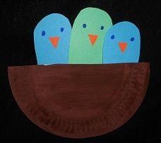 knutselen: nest met vogeltjes