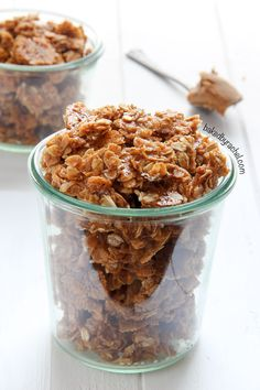 Crisp and chewy homemade Biscoff granola recipe at bakedbyrachel.com
