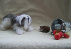 OOAK Realistic Miniature Shaggy Dog old english by malga1605