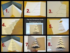 How to make your own Christmas cards - Christmas card DIY ideas Pop Up Christmas Cards, Pop Up Cards, Xmas Cards, Diy Cards, Holiday Cards, Handmade Christmas, Christmas Crafts, Christmas Tree, Kirigami
