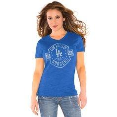 Los Angeles Dodgers Tri-blend V-Neck T-Shirt - Touch by Alyssa Milano
