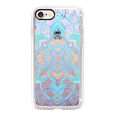 Decorative Turquoise and Rainbow Doodle on transparent - iPhone 7... ($40) ❤ liked on Polyvore featuring accessories, tech accessories, iphone case, transparent iphone case, apple iphone case, rainbow iphone case, iphone cases and iphone cover case