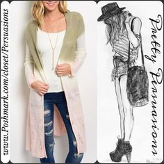 NWT Ombré Long Sleeve Open Front Long Cardigan - M X Pretty Persuasions Sweaters Cardigans