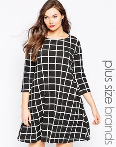 Shop Praslin Sleeve Checked Swing Dress at ASOS. Tux Dress, Cape Dress, Blazer Dress, Smock Dress, Robe Swing, Swing Dress, Plus Size Fashion Dresses, Plus Size Outfits, Lace Bodysuit Long Sleeve