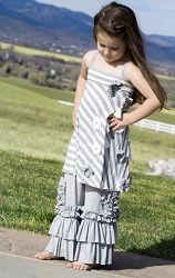 Pixie Girl Grey Poppy Striped Tunic