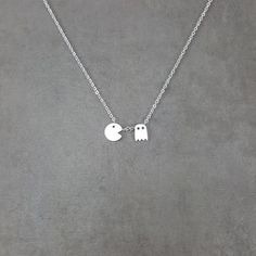 Pac Man Silver Necklace