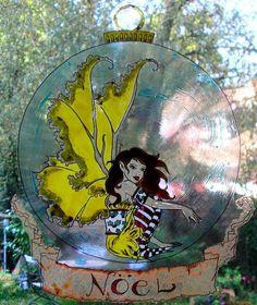 WICOART STICKER WINDOW COLOR CLING FAUX STAINED GLASS NOEL BOULE FAIRY FEE FAE