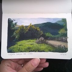 Moleskine gouache adventures #gouachestudies #minigouacheadventures #gouache #pleinair #audreysartadventures #art #painting #landscape