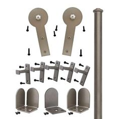 Quiet Glide 1-1/2 in. to 2-1/4 in. Round Stick Satin Nickel Rolling Door Hardware Kit - QG1300RS02 - The Home Depot