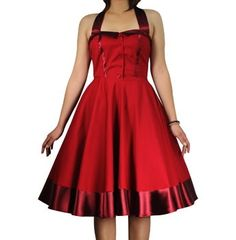 50s Rockabilly Retro Vintage Pinup Full Swing Jive Red Dress 14 42 | eBay