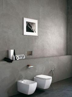 18 Ideas For Bathroom Scandinavian Design Wabi Sabi Cement Bathroom, Bathroom Toilets, Bathroom Faucets, Bad Inspiration, Bathroom Inspiration, Interior Inspiration, Toilette Design, Polished Plaster, Polished Cement