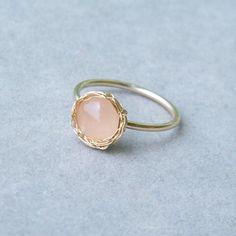 Rose Quartz Ring, Gold Gemstone Ring, Crochet Gold Wire, Wire Crochet Ring, Ready To Ship Size 7. $40,00, via Etsy.