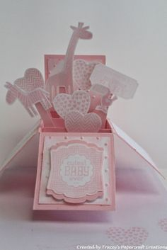 Baby Frame, PCards Paper Crafts baby cards &SU-CaRD iN a BoX Tracey's Papercraft Creations: Baby Cards - Cards in a Box Pop Up Box Cards, 3d Cards, Cute Cards, Stampin Up Cards, Card Boxes, Baby Girl Cards, New Baby Cards, 3d Templates, Exploding Box Card