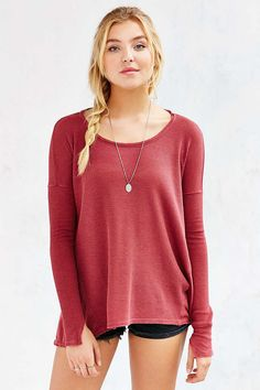 Ecote Riley Thermal Top - Urban Outfitters size: small