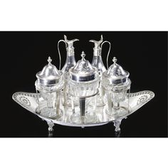 A George III silver cruet set, George Ashforth, Ellis Hawksworth & Best, Sheffield, <P>1782</P> | lot | Sotheby's