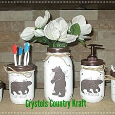 Bear bathroom decor! Bear soap pump, bear toothbrush holder, bear vase, mama bear and cubs bathroom decor. New to the shop! Checkout my shop for other themes in bathroom decor, kitchen canisters sets and mason jar lamps. Custom orders welcome! Message me.