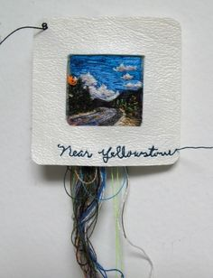 embroidered slides by Lauren Dicioccio Jackson Hole, Textiles, Hand Embroidery, Embroidery Designs, Collages, Fabric Postcards, Contemporary Embroidery, Cool Art Projects, Expressive Art