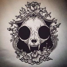 cat skull #cat #skull #catskull #tattoo #tattoodesign #skulltattoodesign…