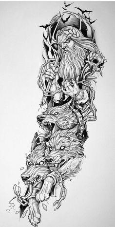 Half Sleeve Tattoos Sketches, Full Sleeve Tattoos, Tattoo Sleeve Designs, Tattoo Sketches, Hades Tattoo, Zeus Tattoo, Poseidon Tattoo, Norse Mythology Tattoo, Greek Mythology Tattoos