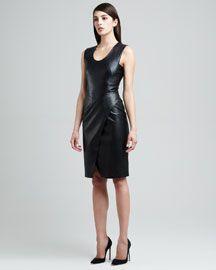 B1Z4M J. Mendel Envelope-Skirt Lambskin Leather Dress