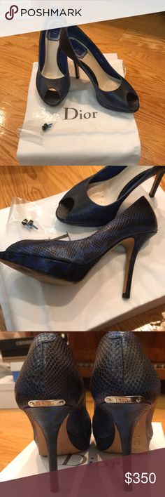 Christian Dior open toe shoes Sz 37 Brand Name: Christian Dior  Product Name: MISS DIOR PEEP TOE Pumps  Color: Blue  Material: Leather  Size(approx.):  - 37 (24cm 9.45Inch)  - Bottom width(outside): 7.5cm(2.95 Inch)  - Height(heel-mouth): 6.5cm(2.56 Inch)  - Out sole: 25cm(9.84 Inch)  - Heel's height: 10.5cm(4.13 Inch) In a very good condition  100% authentic Christian Dior Shoes Heels