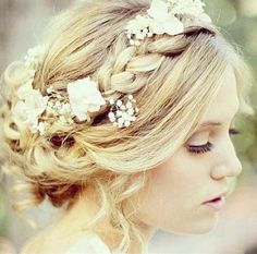 Wedding hair!  Braid with pretty arrangements - no flowers for me though