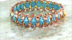 RoseMontee Resort Cuff -Tutorial--Free beading video using two-hole Dimonduo and rose montee beads