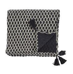 Plaid en coton tissé noir et beige Jardin d'Ulysse - 130x170cm