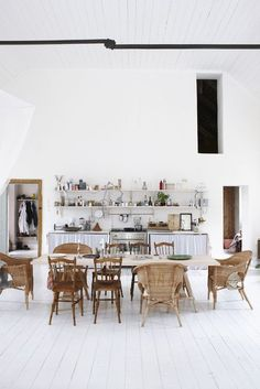 White and wood kitchen. Different chairs.