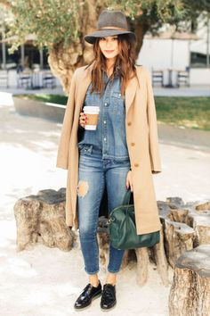 Jamie Chung shares what she's styling this season: the denim-on-denim trend, with a floppy hat and classic trench coat.