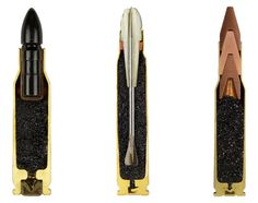 Series of cross-sectioned ammunition photographed by Sabine Pearlman