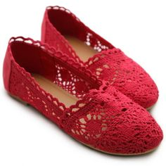 Red Lace Mesh Ballet Flat Shoes.