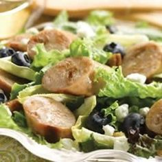 Chicken Sausage, Endive, and Blueberry Salad with Toasted Pecans
